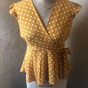 Polk cream and mustard blouse